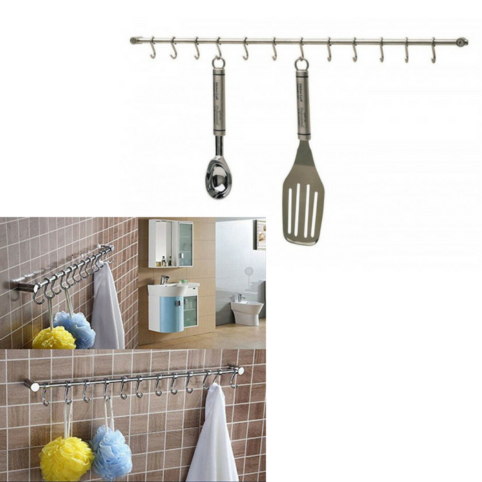 Pictures To Hang In Kitchen: Kitchen Craft Stainless Steel Utensil 12 Hook Hanging Rack